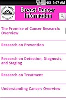Screenshot of NIH: Breast Cancer Information