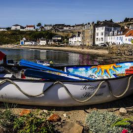 Landlocked   by Jaqueline Nicholsn - Transportation Boats ( water, urban, colourful, village, waterscape, rowing, harbour, boat, coastal, oars )