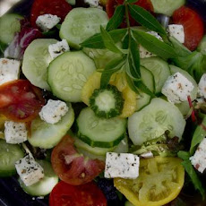 Tomato, Cucumber and Feta Salad With Lemon Verbena