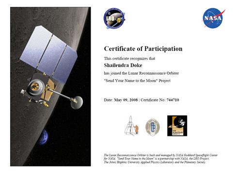 LRO_NASA_Certificate