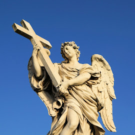 The Beauty of Rome by Steve Henley - Buildings & Architecture Statues & Monuments ( angel, statue, rome, beauty, cross )