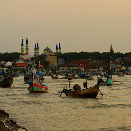 Boats on Boom Beach by Puguh Van Java - Transportation Boats