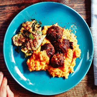 Dan Lepard's baked lamb meatballs with sweet potato mash and grilled courgettes