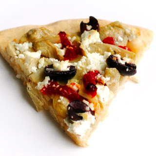Artichoke Heart, Olive, and Goat Cheese Pizza