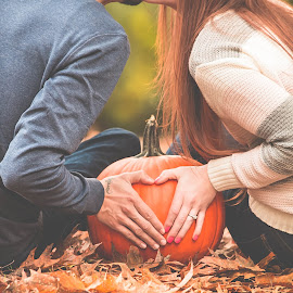 October engagement by Jenny Hammer - People Couples ( love, pumpkin, fall, couple, cute )