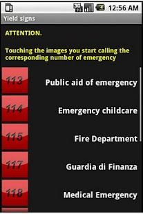 Road signs, emergency numbers - screenshot
