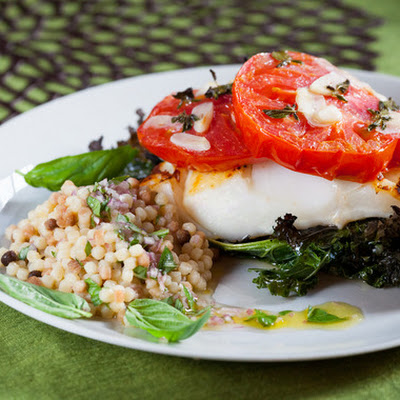 Cod with Crispy Kale, Roasted Tomato & Fregola Sarda