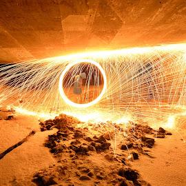 Spinning under the bridge by Marius Birkeland - Abstract Light Painting ( light painting, spinning, steel wool, steelwool, steel )