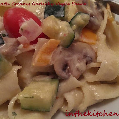 Homemade Pasta with Creamy Garlicky Veggie Sauce