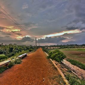 Sunset at Hesarghatta Lake, Bangalore by Md Mukibul Islam - Landscapes Sunsets & Sunrises ( clouds, sunset, lake, landscape, evening )