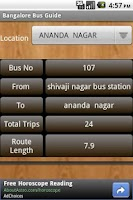 Screenshot of Bangalore Bus Guide.