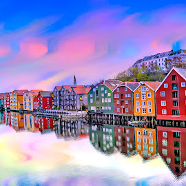 by Bente Agerup - Buildings & Architecture Public & Historical ( houses, old buildings in norway, trondheim, reflections )