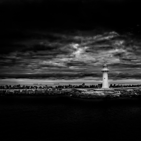 Sentinel by Bradley Rasmussen - Black & White Landscapes ( water, canon, wollongong, waterscape, black & white, silver efex pro, lighthouse, sea, nsw, ocean, seascape, ef 24-70, overcast, 6d, bellmore basin, photoshop cc, australia, sunrise,  )