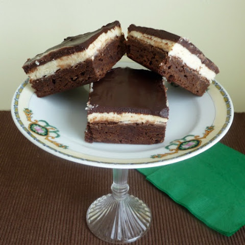 Irish Cream Brownies with Chocolate Irish Cream Ganache
