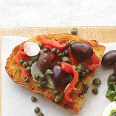 Roasted Red Pepper, Olive, and Caper Bruschetta