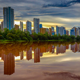 Londrina Saturada by Tony Saad - Buildings & Architecture Office Buildings & Hotels ( brazil, reflection, londrina, sunset, lake, sunrise,  )