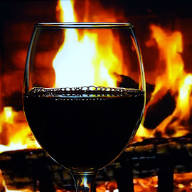 Warm Winter's Night by Laurie DeMent - Food & Drink Alcohol & Drinks ( wine, warm, relax, romantic, romance, fire, red, winter, alcohol, drink, glass, hot, night, fireplace, evening, firelight )