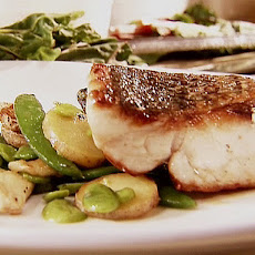 Seared Wild Striped Bass with Sauteed Spring Vegetables