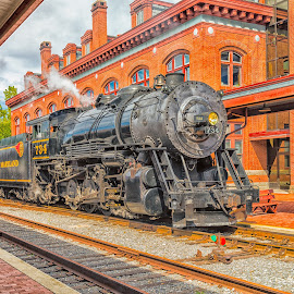On Time by Robert Peterson - Transportation Trains ( cumberland, steam train, railroad, maryland, train )