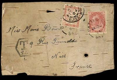 Une carte postale en écorce de bouleau