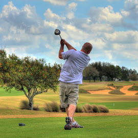 Long Drive by Lisa Cozene - Sports & Fitness Golf ( orange, hdr, golf, friend, grove )