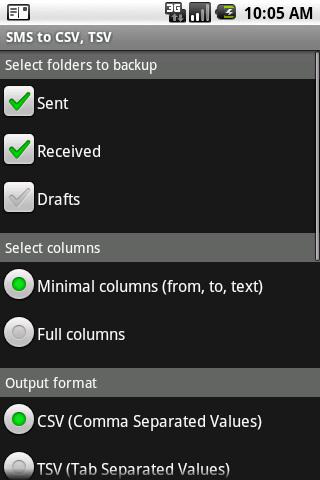 SMS Exporter to CSV TSV