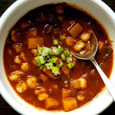 Butternut Squash Posole with Green Tomato Pico de Gallo