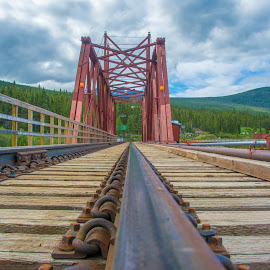 White Pass & Yukon Railway Carcross Bridge by Joel Provost - Buildings & Architecture Bridges & Suspended Structures ( mountains, railway, yukon, bridge, white pass, railroad bridge, carcross )