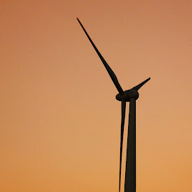 Alone by Buddhika Wanasinghe - News & Events Science ( sillh, red sky, wind turbine, silhouette, alone )