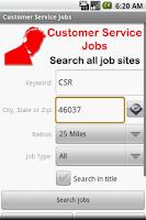 Screenshot of Customer Service Jobs