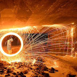Spinning under the bridge by Marius Birkeland - Abstract Light Painting ( light painting, spinning, steel wool, steelwool, steel )