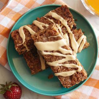 Dried-Fruit Granola Bars with Peanut Butter Drizzle