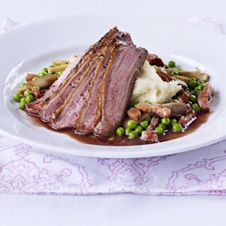 Peppered Duck With Vanilla Mash, Pea & Wild Mushroom Ragout