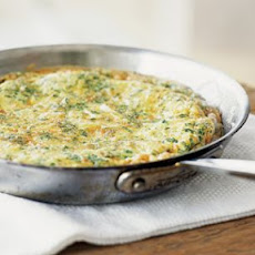 Frittata with Mixed Herbs, Leeks and Parmesan Cheese