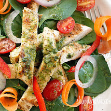 Grilled Chicken Spinach Salad with White Balsamic Vinaigrette