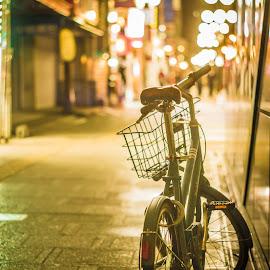 Tokyo Bike by Mike Martin - Transportation Bicycles ( lights, bike, japan, tachikawa, street, tokyo, long exposure, night, bicycle )