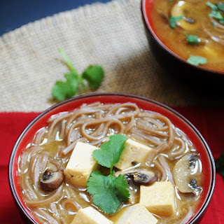 Red Miso Soup with Soba Noodles and Tofu