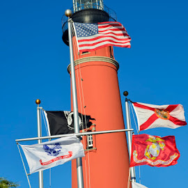 Flags by Bill Telkamp - Novices Only Objects & Still Life ( flags, lighthouse )
