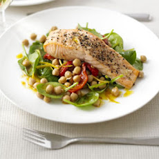 Salmon With Warm Chickpea, Pepper & Spinach Salad