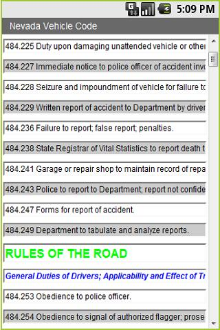 Nevada Vehicle Code 4 Cops