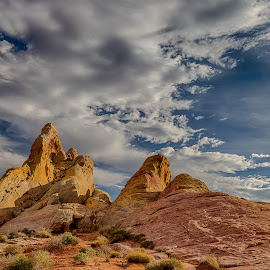 Valley Of Fire 1, Nevaada by Jay Gould - Landscapes Mountains & Hills ( colored limestone, clouds, limestone, blue sky, nevada, valley of fire )