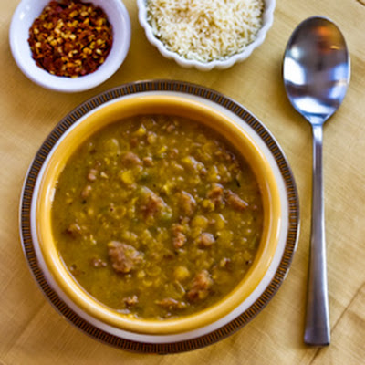 Spicy Yellow Split Pea Soup with Italian Sausage and Green Pepper
