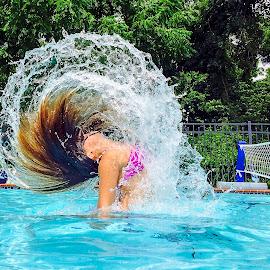 Pool Hair Flip by Adrian Dillenseger - Instagram & Mobile iPhone ( hair flip, pool )