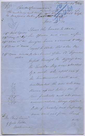 "Addressed to the Chief Commissioner of the Gold Fields, this letter, dated 30 November 1854, gives Resident Gold Fields Commissioner Robert Rede's account of the attack on the 12th Regiment which occurred as they were passing through the Eureka flats to reinforce the Government Camp. <a href=""http://wiki.prov.vic.gov.au/index.php/Eureka_Stockade:Rede%27s_account_of_the_attack_on_the_12th_Regiment"">Click here to see more of this record n our wiki.</a>  Rede also enquires into the exact legal position of the Crown in dealing with sedition, lest he 'overstep the exact line'."