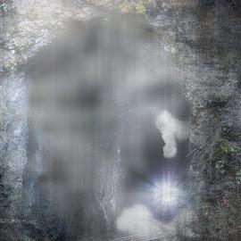 Ghost Train Coming by Evan Jones - Digital Art Places ( creepy, train tracks, foggy, fog, dark, train )