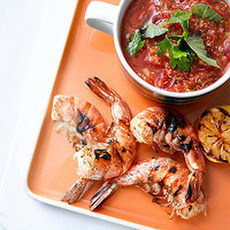 Gazpacho with Grilled Peel & Eat Shrimp