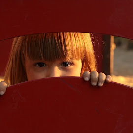 peek by Maša Pešut Kukina - Babies & Children Children Candids ( playground, red, girl, peek )
