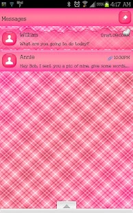 GO SMS - Precious Pink Plaid 2 - screenshot