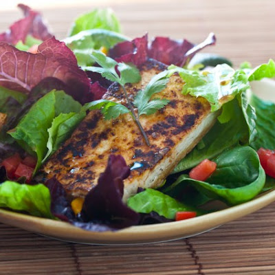 Grilled Tofu Salad with Miso Dressing