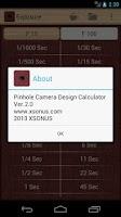 Screenshot of Pinhole Camera Calculator